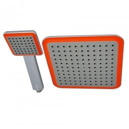 GFmark - Набор душевых леек , тропическая + обычная , квадратные , с оранжевыми вставками 3003