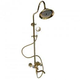 """BRIMIX - Смеситель + стойка душевая """"тропический душ"""" с двумя лейками ЗОЛОТО , телескопическая от 950 - 1250 мм 3080"""