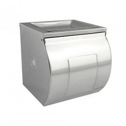 BRIMIX - Держатель туалетной бумаги закрытый короб с пепельницей , 120х125х125 мм из нержавеющей стали 304 , хром 79909