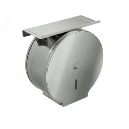 BRIMIX - Диспенсер для туалетной бумаги с ключом - барабан с полочкой , полированная нержавейка - ГЛЯНЕЦ d 250мм, глубина 120мм, код: 903
