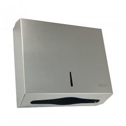 BRIMIX - Диспенсер для бумажного полотенца Z сложения на две пачки с ключом из нержавейки МАТОВЫЙ ХРОМ ШхВхГ 285х260х100мм 901