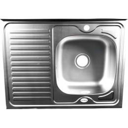 Мойка , накладная, декор 80х60 правая, толщина 0,8 мм, глубина 160 мм + большой сифон с переливом