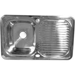 Мойка врезная 78х48 левая толщина 0,8 мм глубина 180 мм + большой сифон с переливом