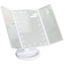 САНАКС - Зеркало косметическое настольное БЕЛОЕ со светодиодной подсветкой , раскладное,сенсорное, зеркало с двойным и тройным увеличением , 18x12x28 см 75271