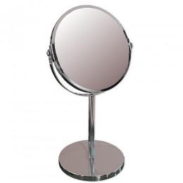 САНАКС - Зеркало косметическое настольное ЭКОНОМ хромированное , зеркало с двойным увеличением D17 , 19x15x34.5 см 75274
