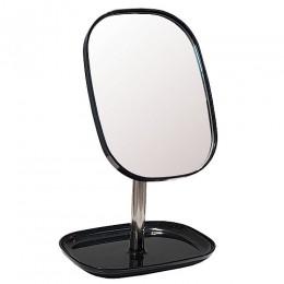 САНАКС - Зеркало косметическое настольное ЧЁРНОЕ заоваленное с подставкой для макияжных принадлежностей , 17.8x12.8x24 см 75276