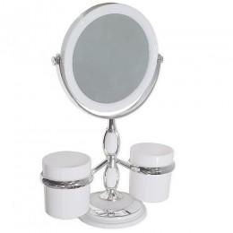 САНАКС - Зеркало косметическое настольное , с двумя стаканами для принадлежностей , хромированное 15x32 см 75275