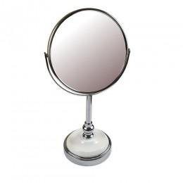 САНАКС - Зеркало косметическое настольное хромированное с керамической вставкой , зеркало с двойным увеличением D17 , 19x15x34.5 см 75277