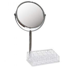САНАКС - Зеркало косметическое настольное хромированное с подставкой для макияжных принадлежностей ,зеркало с двойным увеличением 20x9x33 см 75273