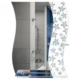 САНАКС - Зеркало комбинированное , с цветным светлым стеклом 600х790 мм, полка 500мм + полка 200мм 45450