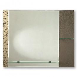 САНАКС - Зеркало комбинированное , с цветным тёмным стеклом 745х600 мм, полка 520мм + полка 200мм 45453