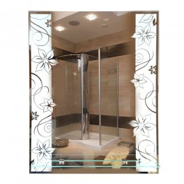 САНАКС - Зеркало с матированным рисунком 535х680 мм, полка 500мм 45614