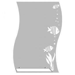 САНАКС - Зеркало волна с матированным рисунком - РЫБКИ 500х700 мм, полка 400мм 40523